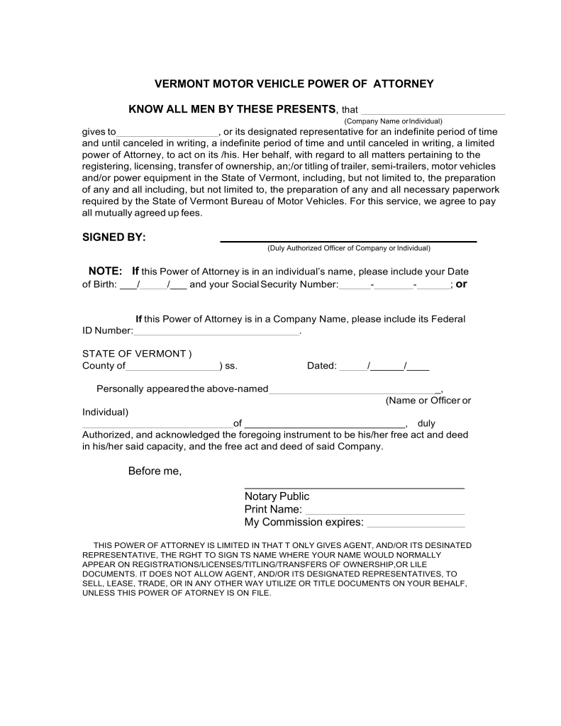 Free Vermont Motor Vehicle Power of Attorney Form - Word | PDF ...