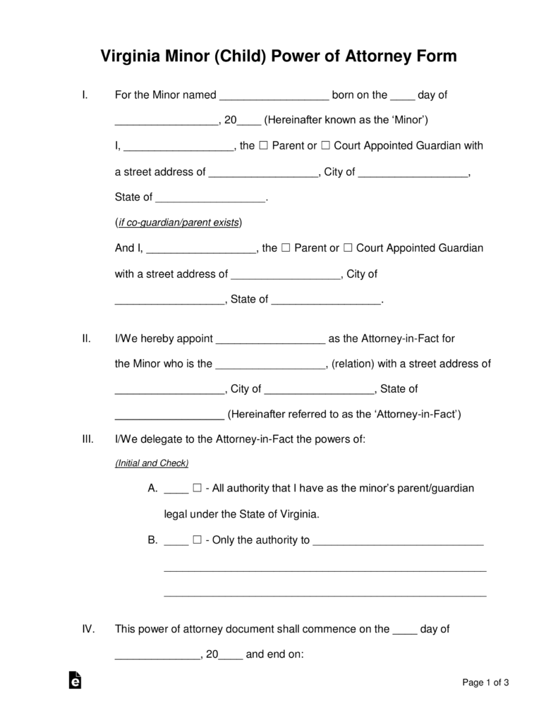 free virginia minor child power of attorney form pdf word eforms free fillable forms