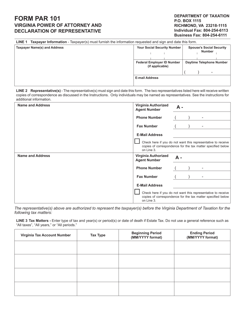 Virginia Form Par 101 Ceriunicaasl