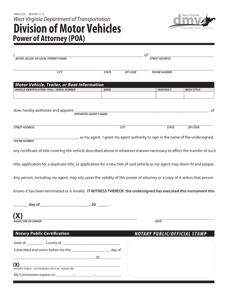 power of attorney form wv West Virginia Motor Vehicle Power of Attorney (Form DMV-9-TR ...