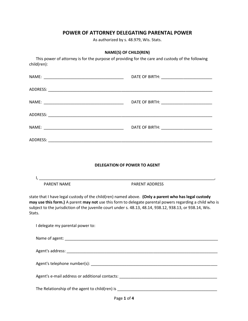 Free wisconsin minor child power of attorney form pdf eforms free wisconsin minor child power of attorney form pdf eforms free fillable forms falaconquin