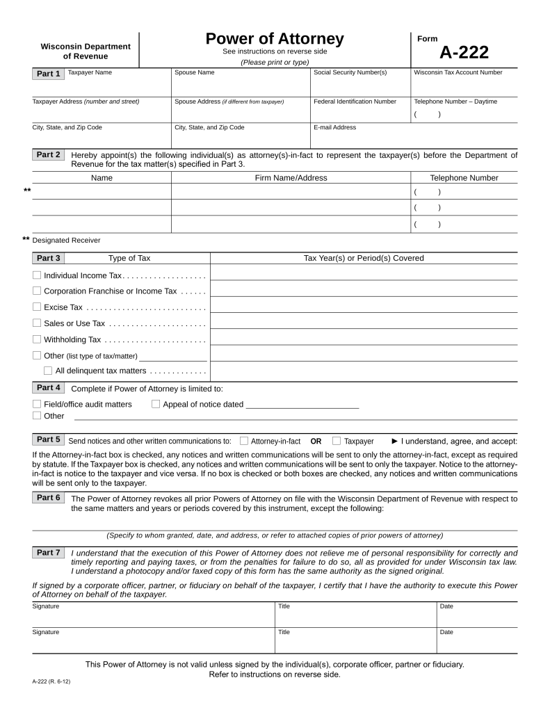 Wisconsin Tax Power of Attorney (Form A-222) | eForms – Free ...
