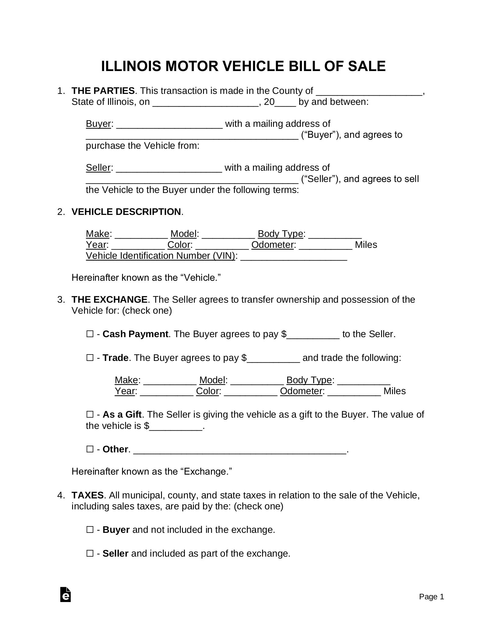 Free Illinois Motor Vehicle Bill of Sale Form   Word   PDF – eForms