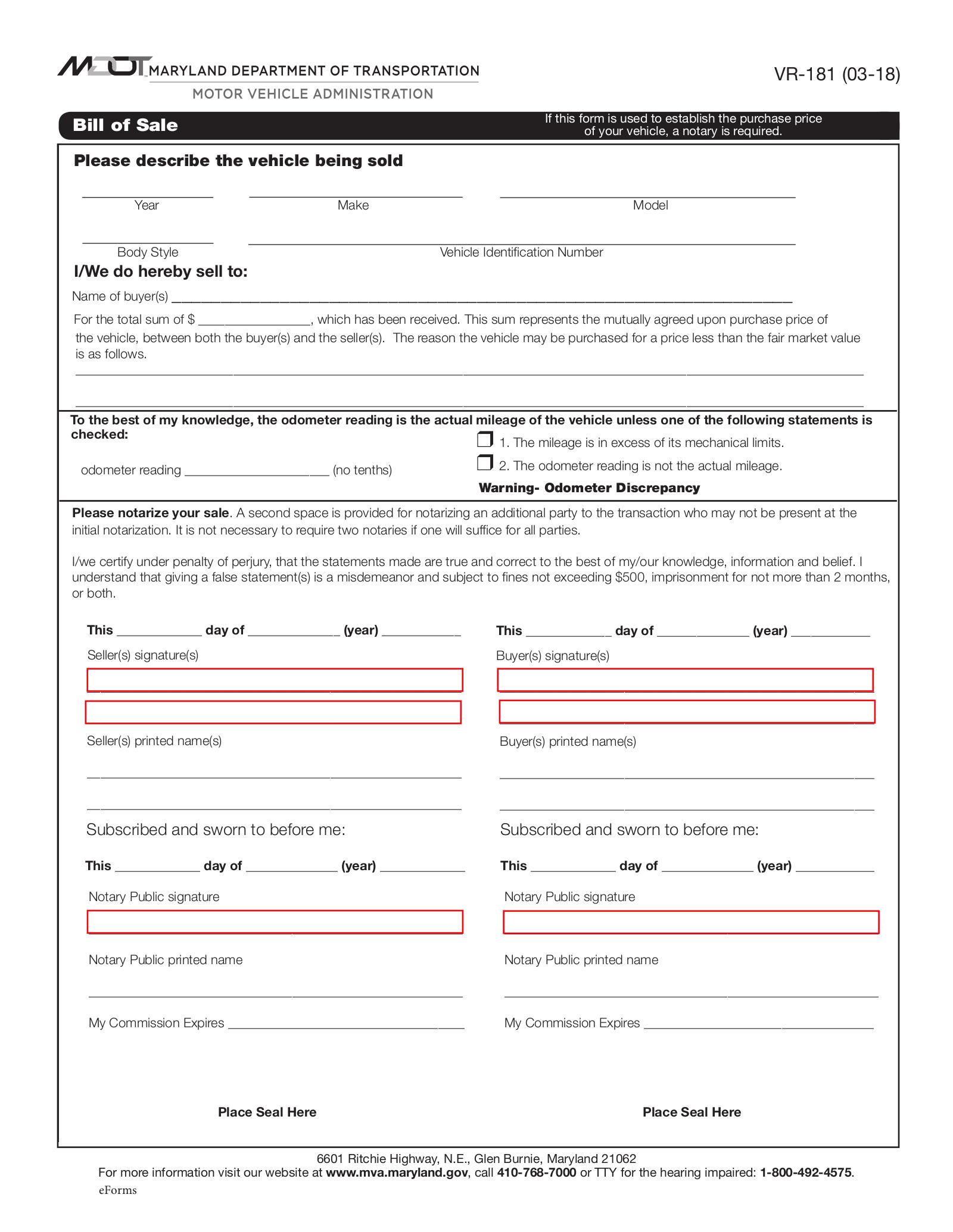 Maryland Motor Vehicle Bill Of Sale Form Vr 181 Eforms