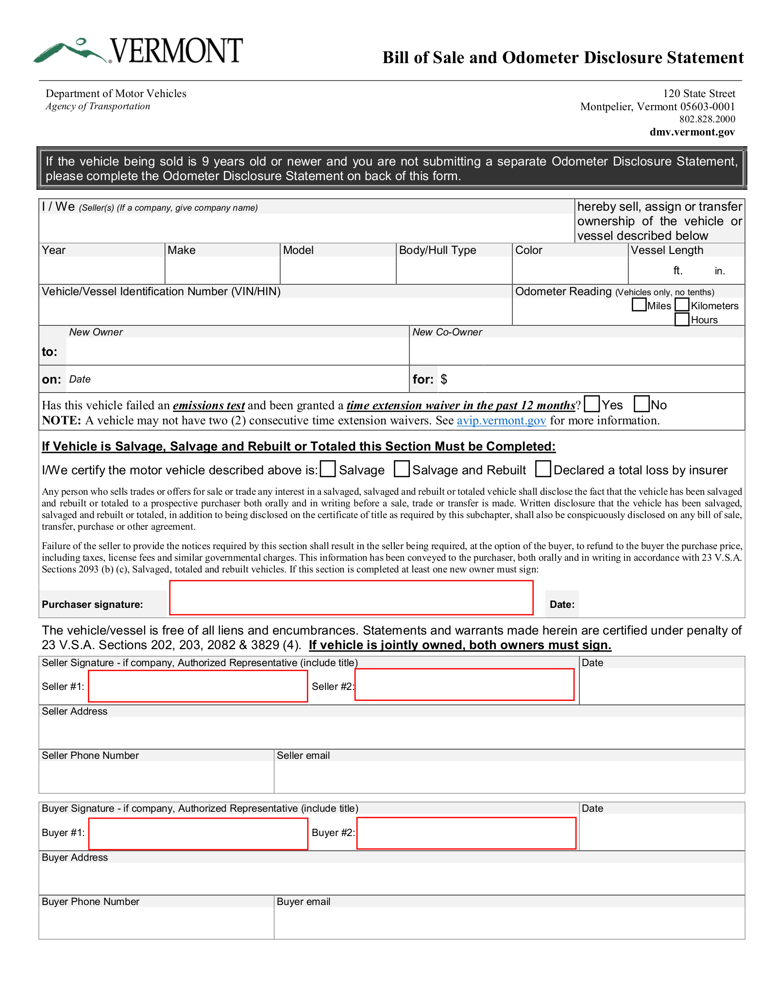 Vermont Motor Vehicle Bill Of Sale Form Vt 005 Eforms Free