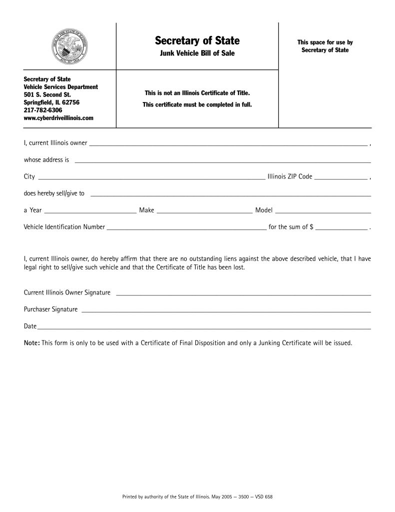 free illinois junk vehicle bill of sale vsd 658 pdf eforms