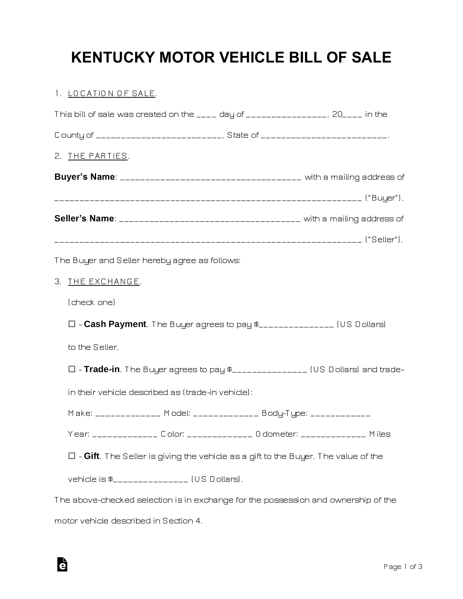Auto Bill Of Sale Template >> Free Kentucky Bill Of Sale Forms Word Pdf Eforms