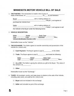 minnesota-motor-vehicle-bill-of-sale-template