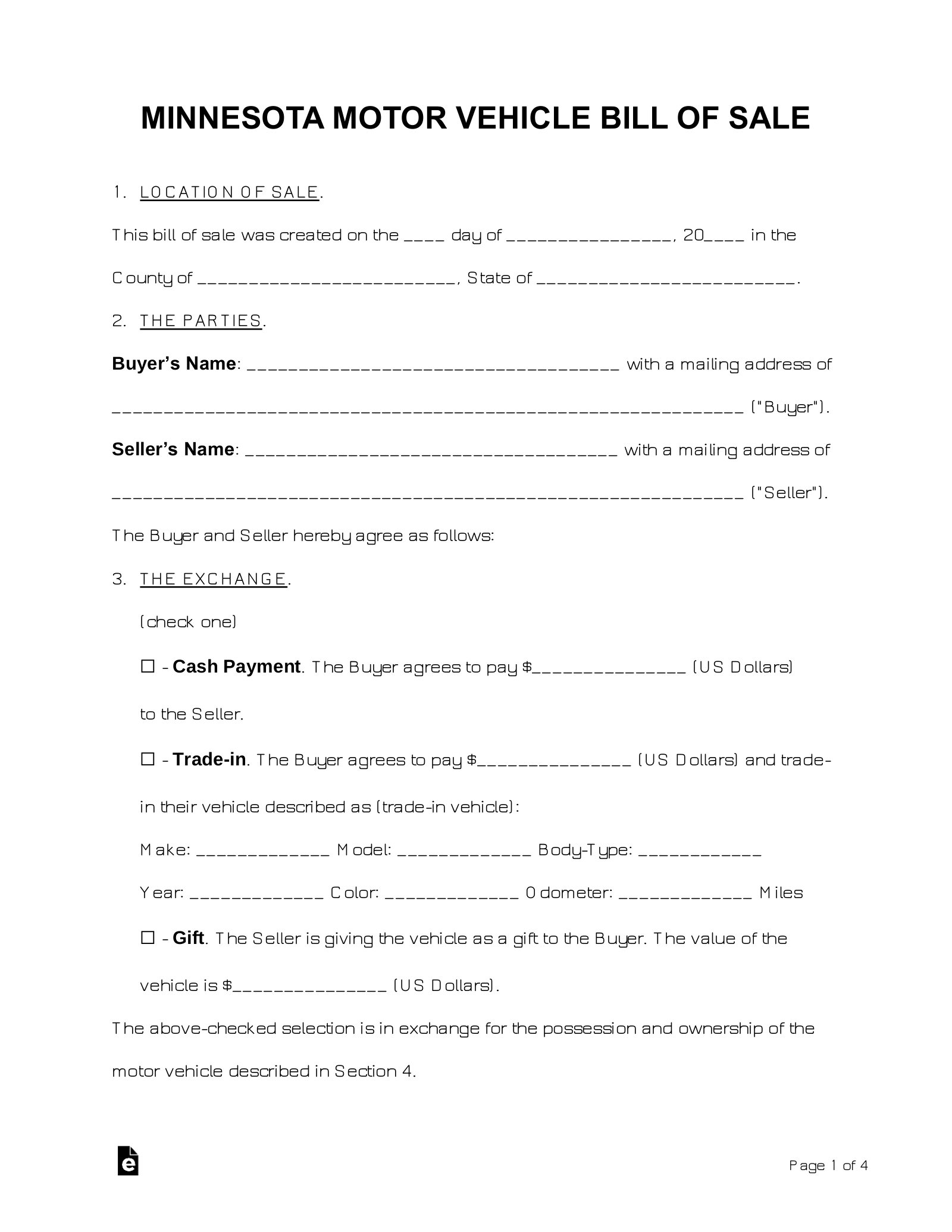 Free Minnesota Bill Of Sale Forms Word Pdf Eforms