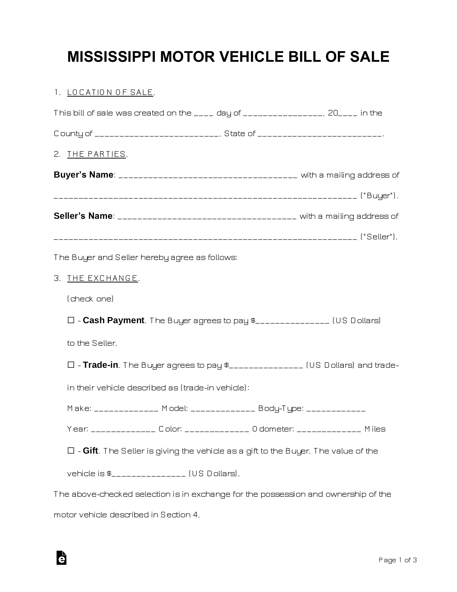 photograph regarding Generic Bill of Sale Printable called No cost Mississippi Monthly bill of Sale Kinds - Term PDF eForms