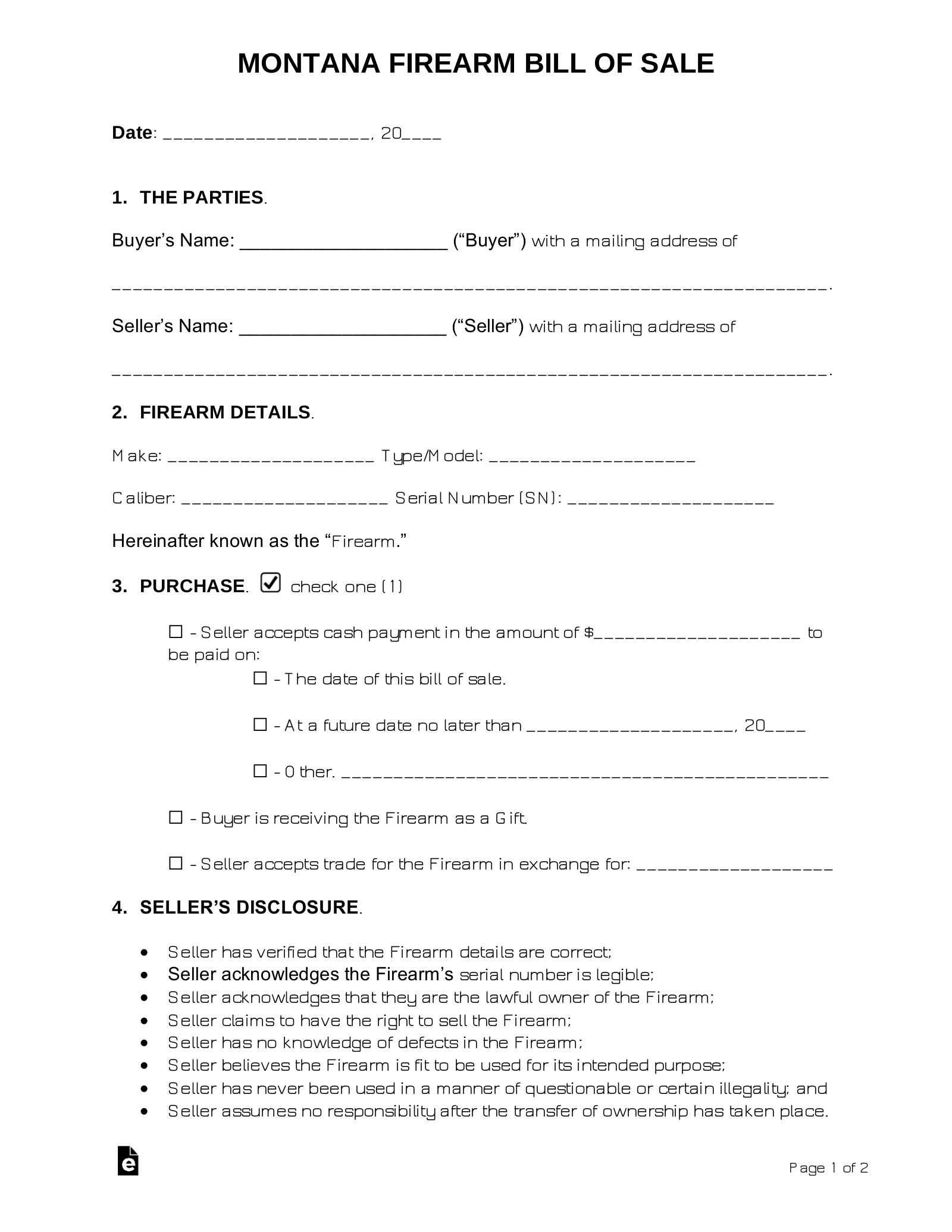 free montana firearm bill of sale form