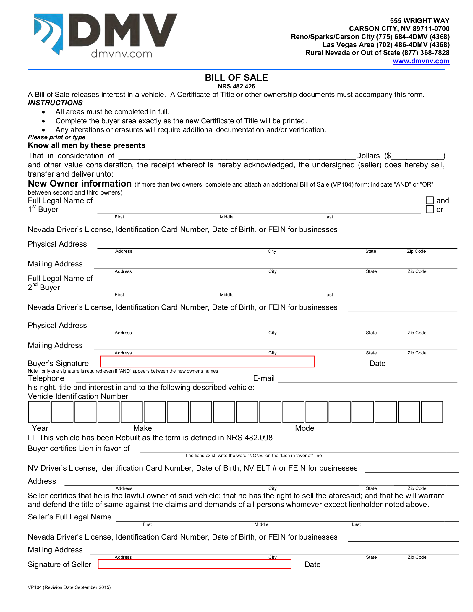 Bill Of Sale Nevada >> Nevada Vehicle Bill Of Sale Form Vp 104 Eforms Free