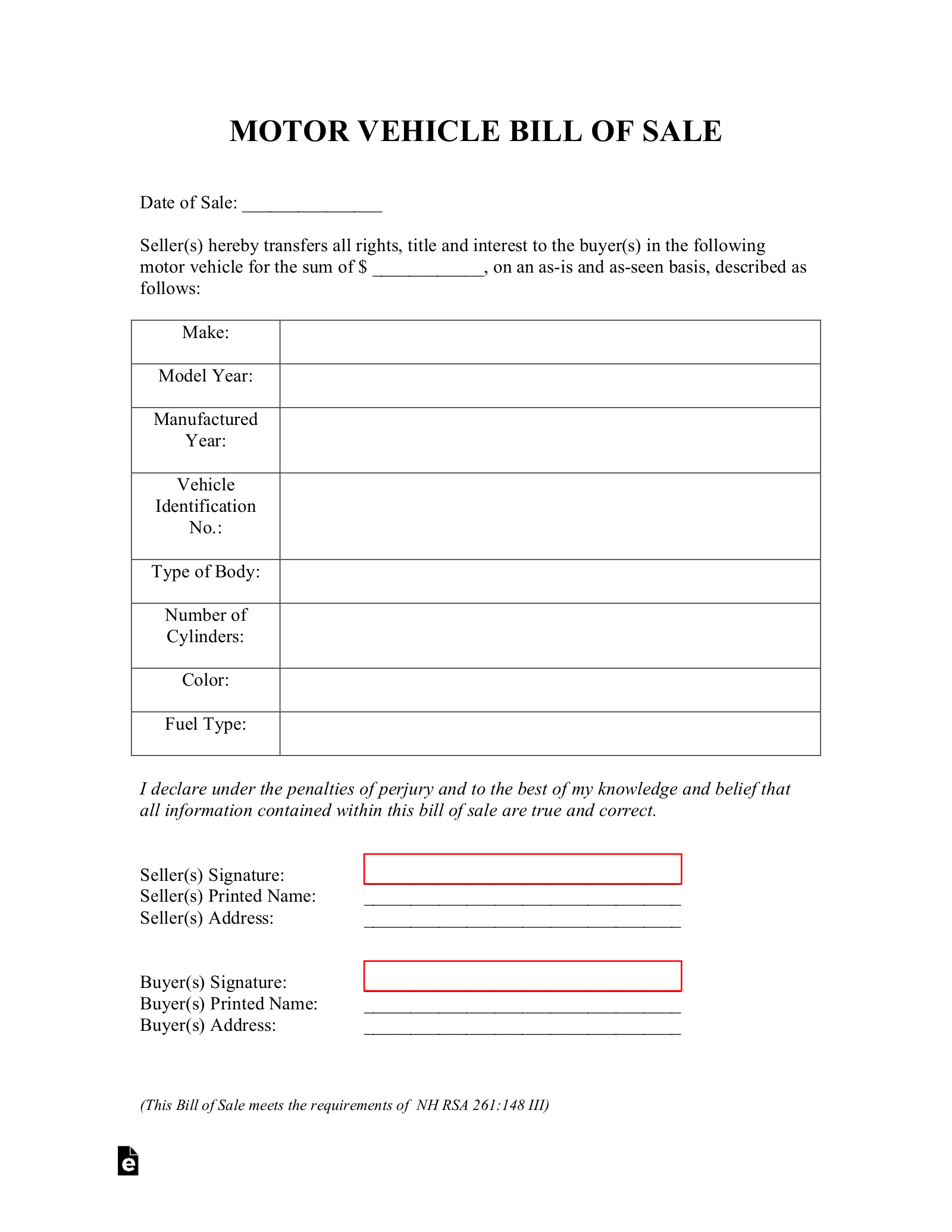 free new hampshire motor vehicle bill of sale form