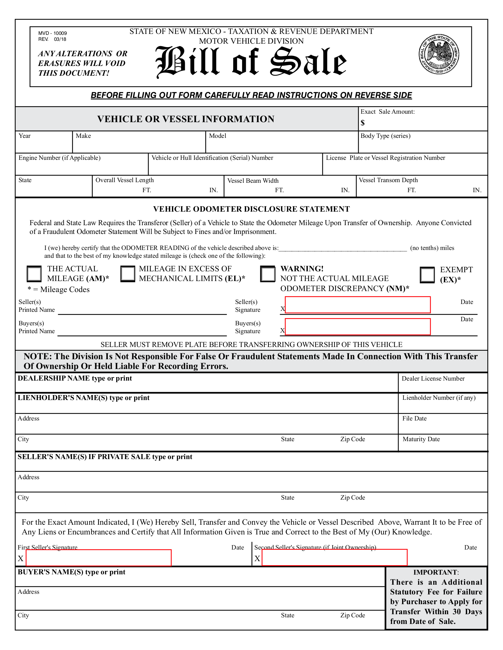 New Mexico Motor Vehicle Division Albuquerque Nm >> Free New Mexico Bill Of Sale Forms Pdf Eforms Free