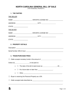 Free North Carolina General Bill of Sale Form - Word | PDF ...