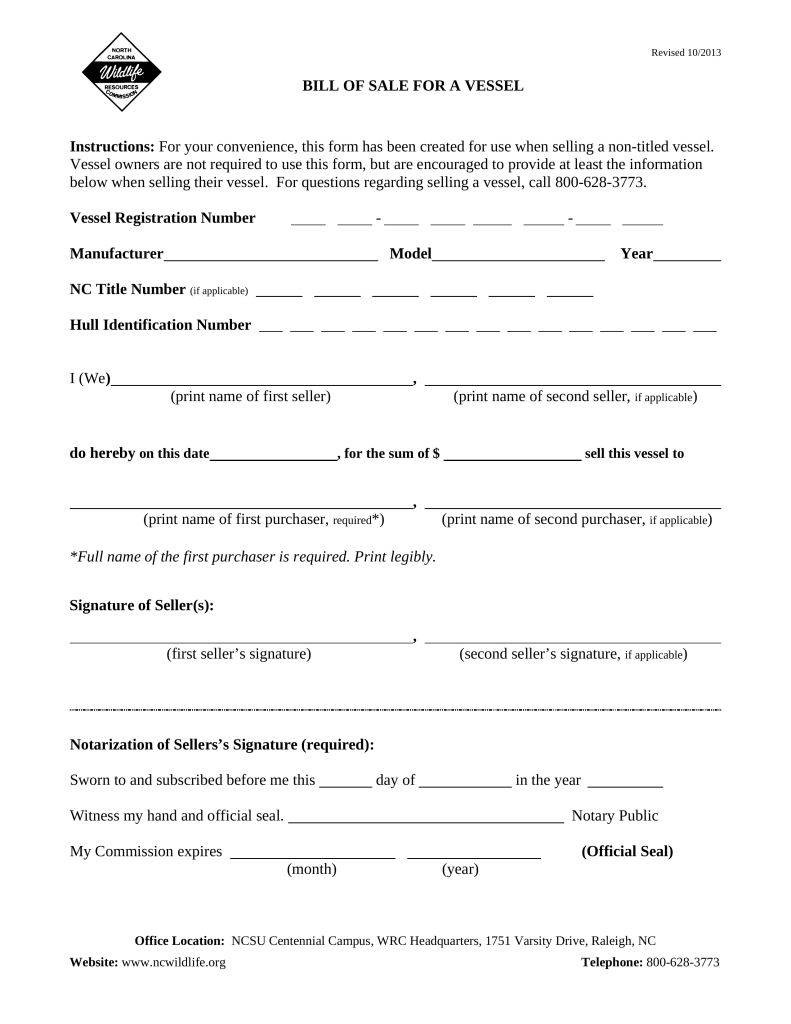 Free North Carolina Vessel Bill of Sale Form - PDF | eForms – Free ...