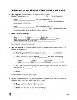 pennsylvania-motor-vehicle-bill-of-sale-template