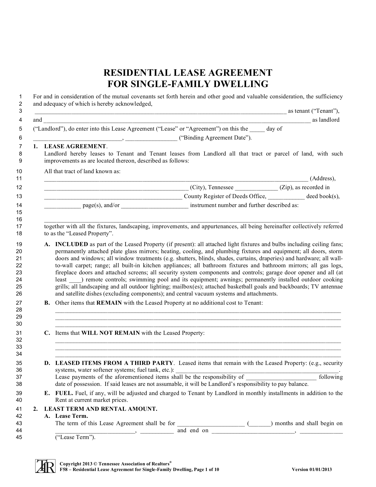 Free Tennessee Association Of Realtors Residential Lease