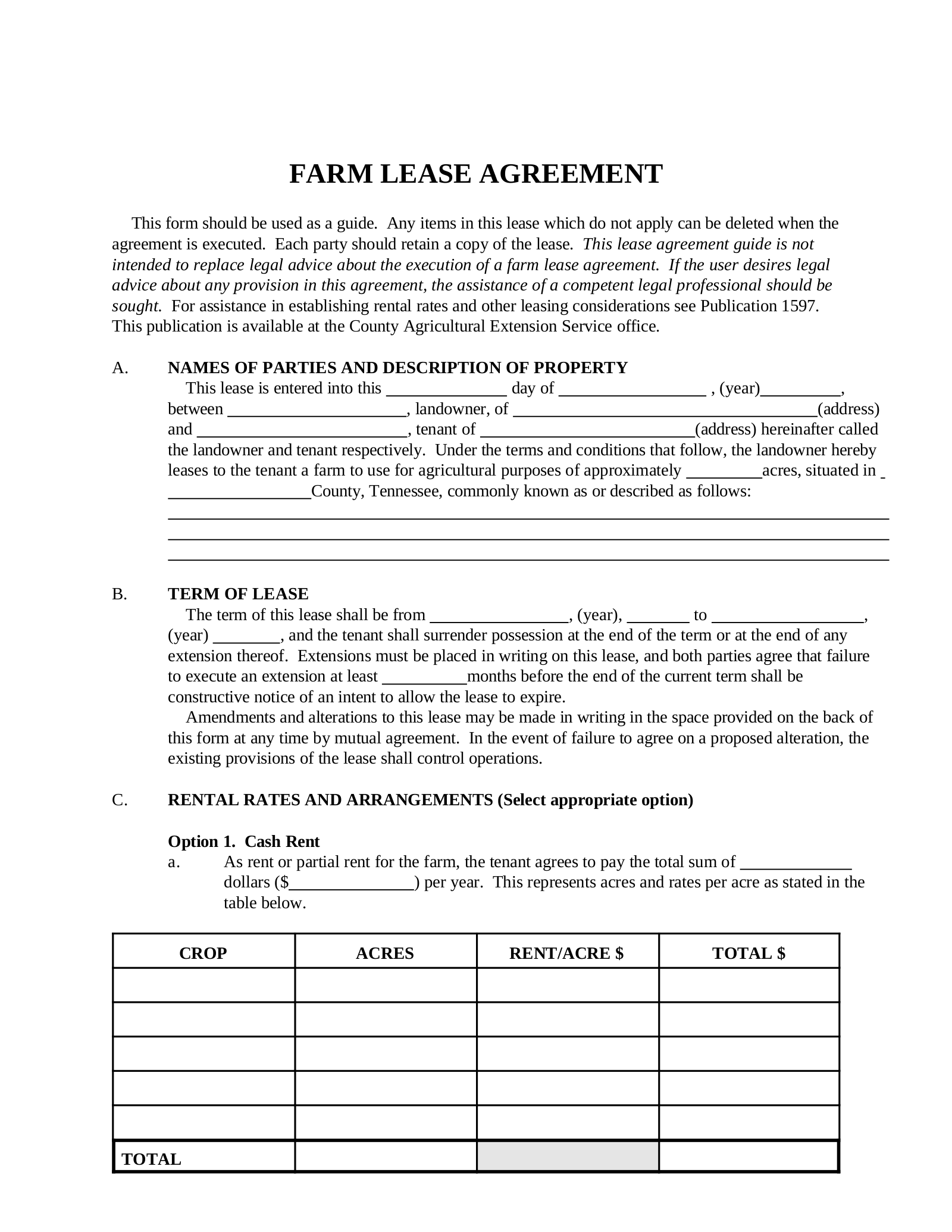 Land Rental Agreement Template from eforms.com
