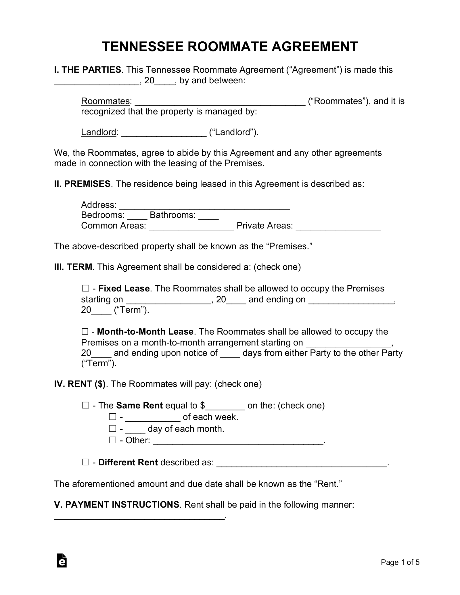 Free Tennessee Roommate Agreement Form Pdf Word Eforms