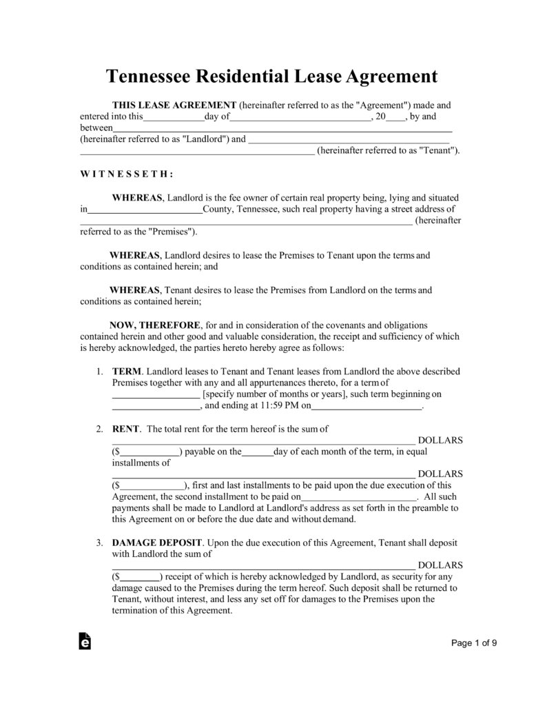 Free Tennessee Standard Residential Lease Agreement Template Pdf