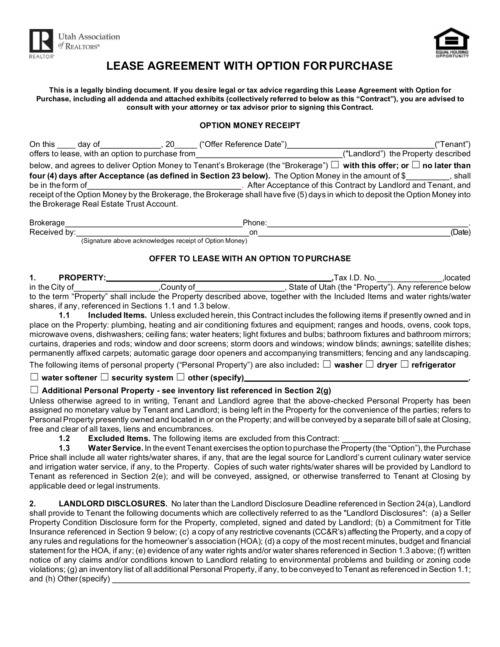 Free Utah Lease Agreement With Option To Purchase Form