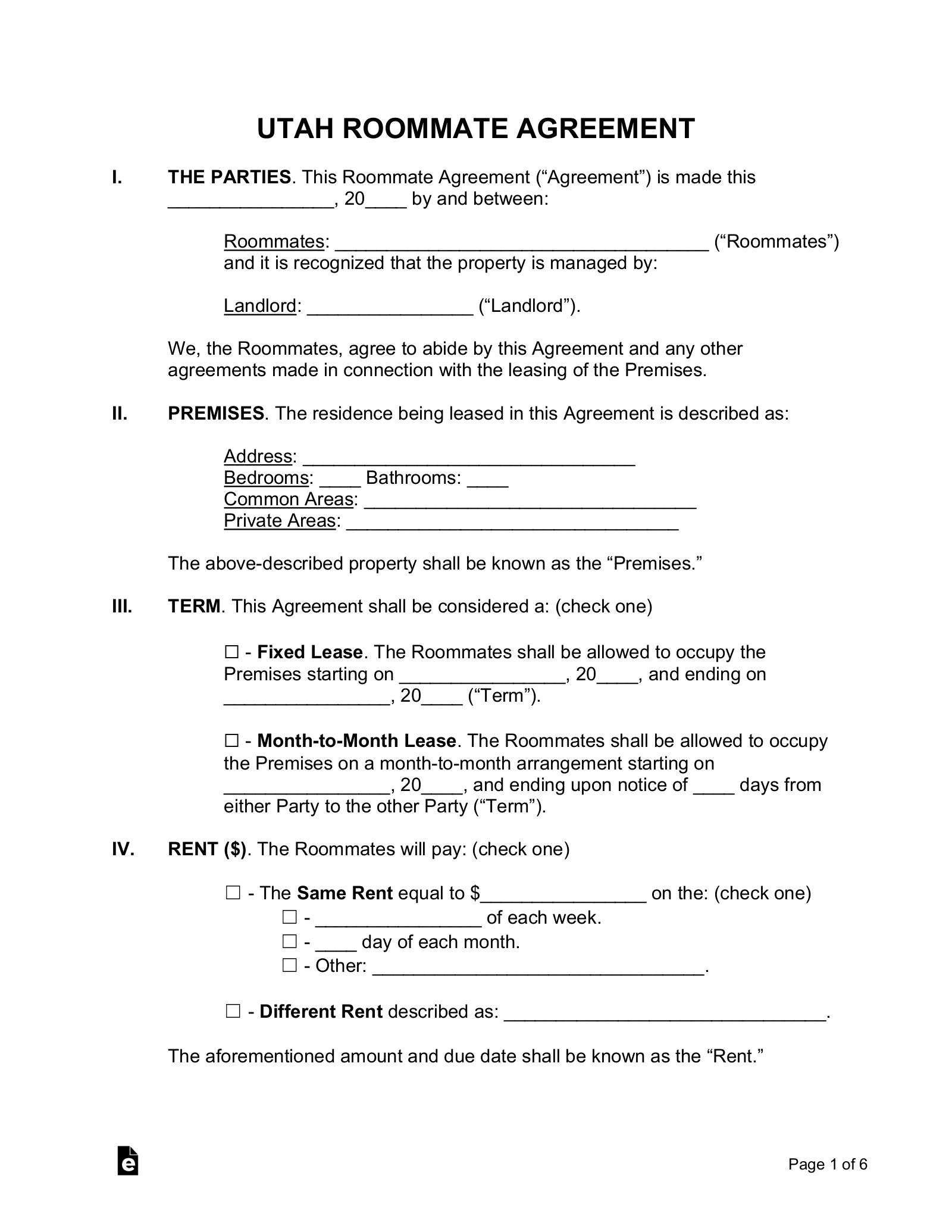 Free Utah Roommate Agreement Form Pdf Word Eforms