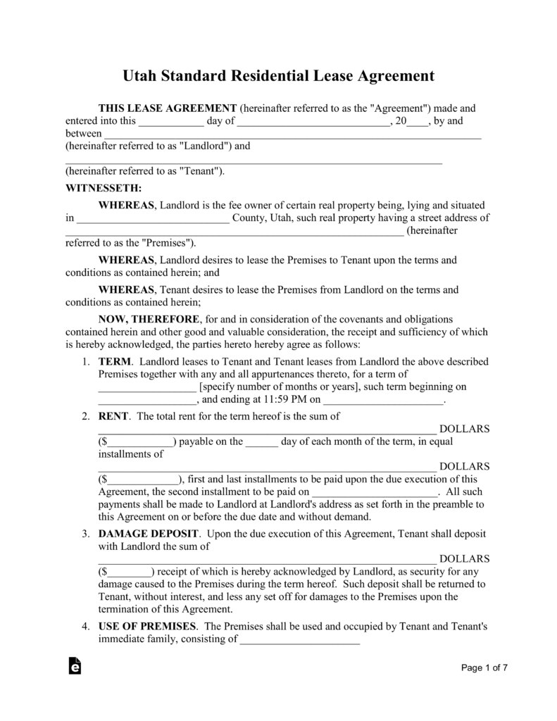 Free utah standard residential lease agreement template for Standard tenancy agreement template