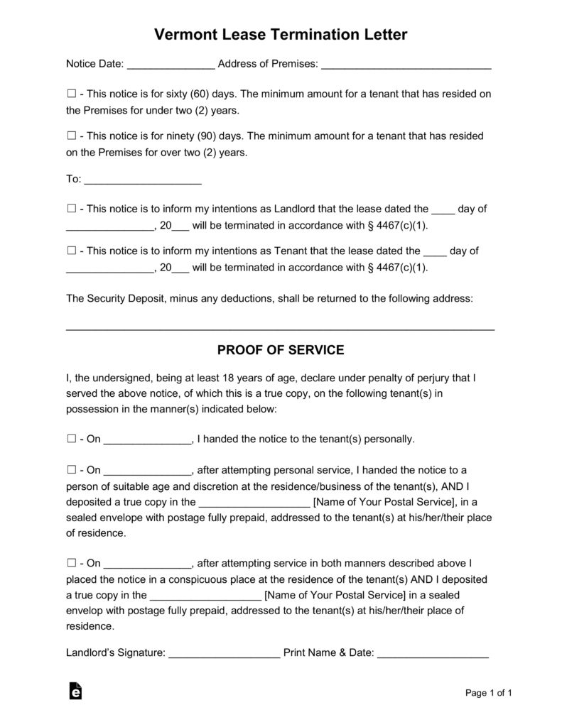 Free vermont lease termination letter form 60 or 90 day for Template for 60 day notice to vacate