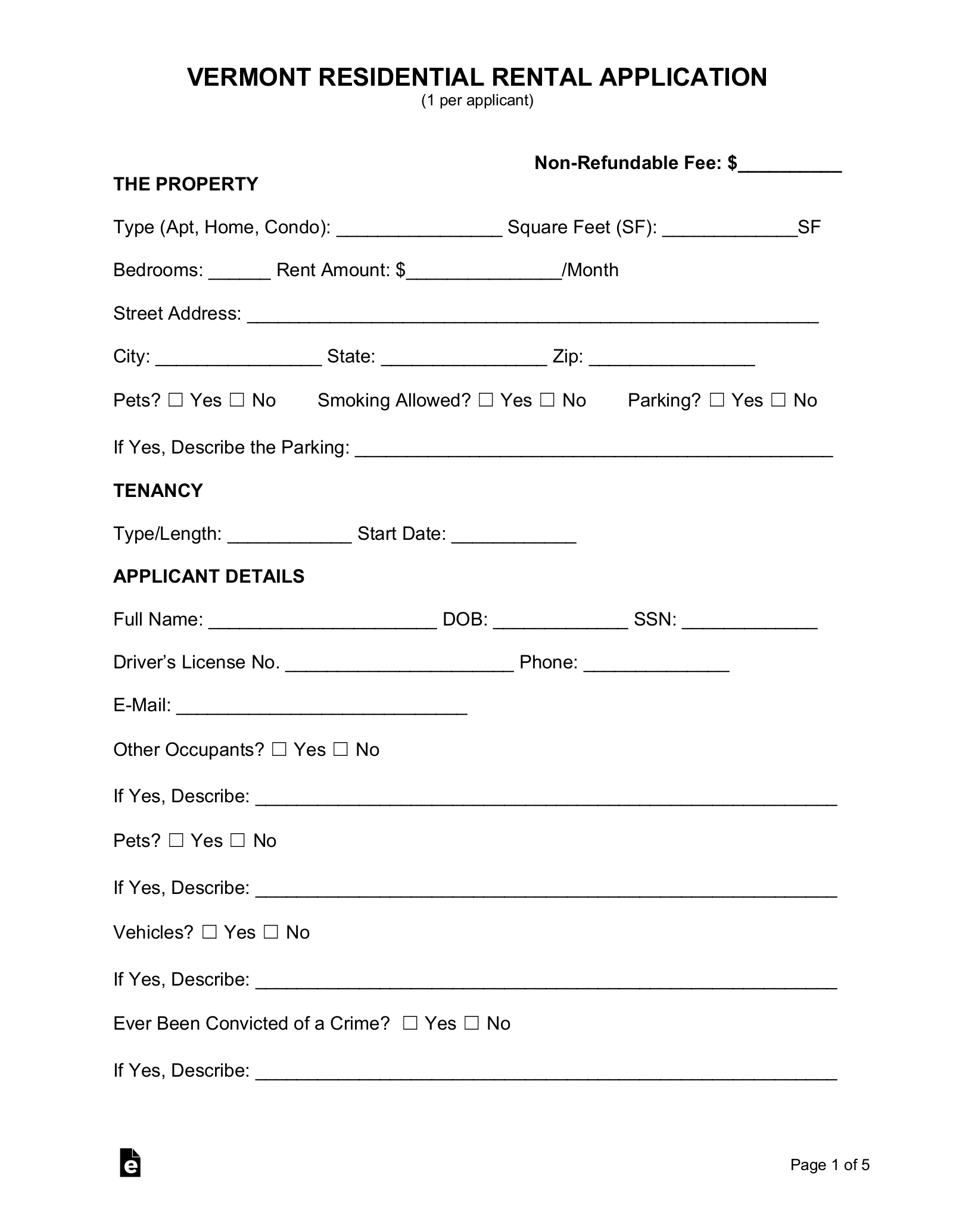 free vermont rental application form