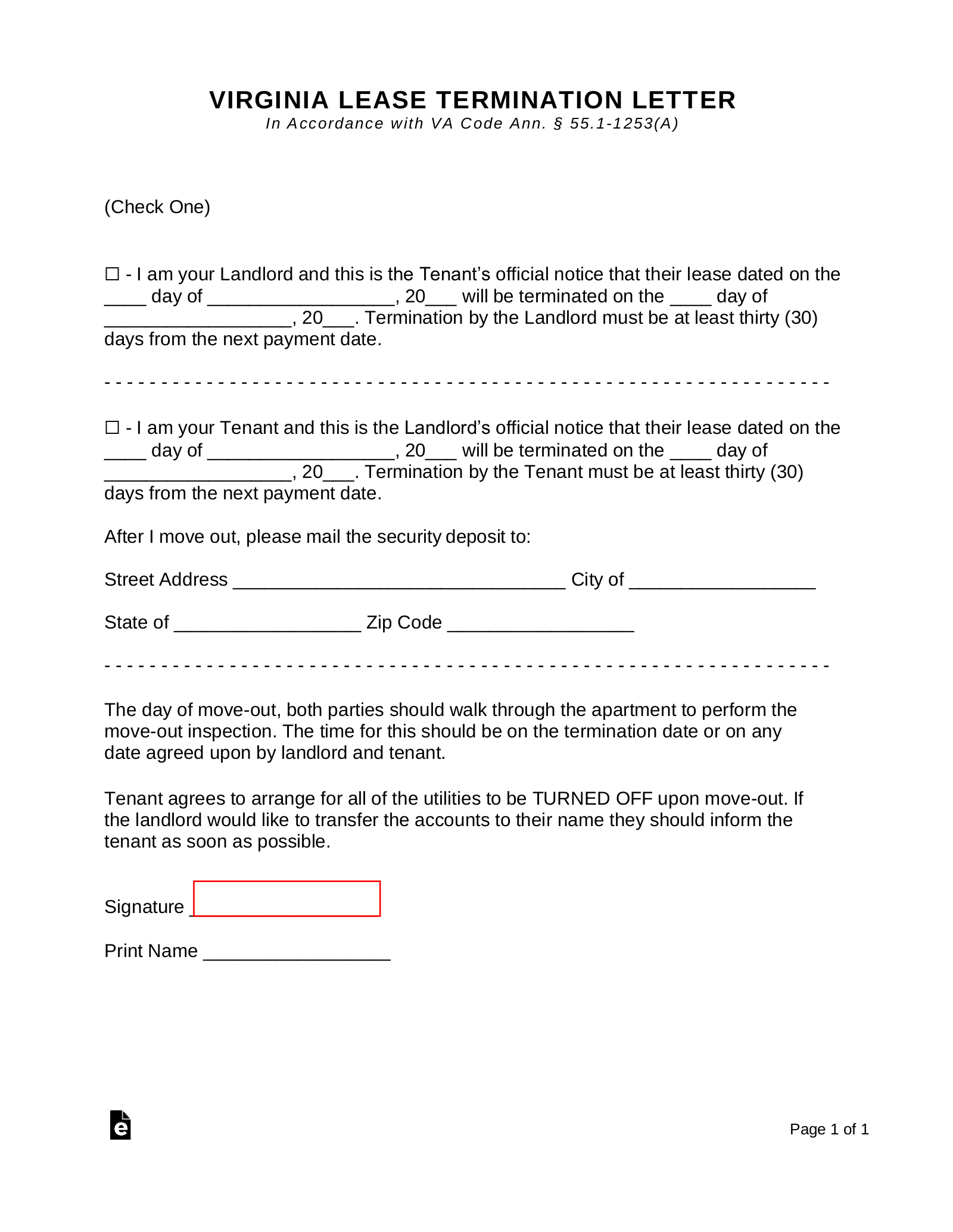 Virginia Lease Termination Letter Form 30 Day Notice