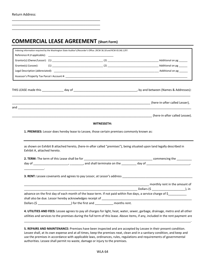 Free Washington Commercial Lease Agreement Form PDF – Sample Commercial Lease Agreement Template