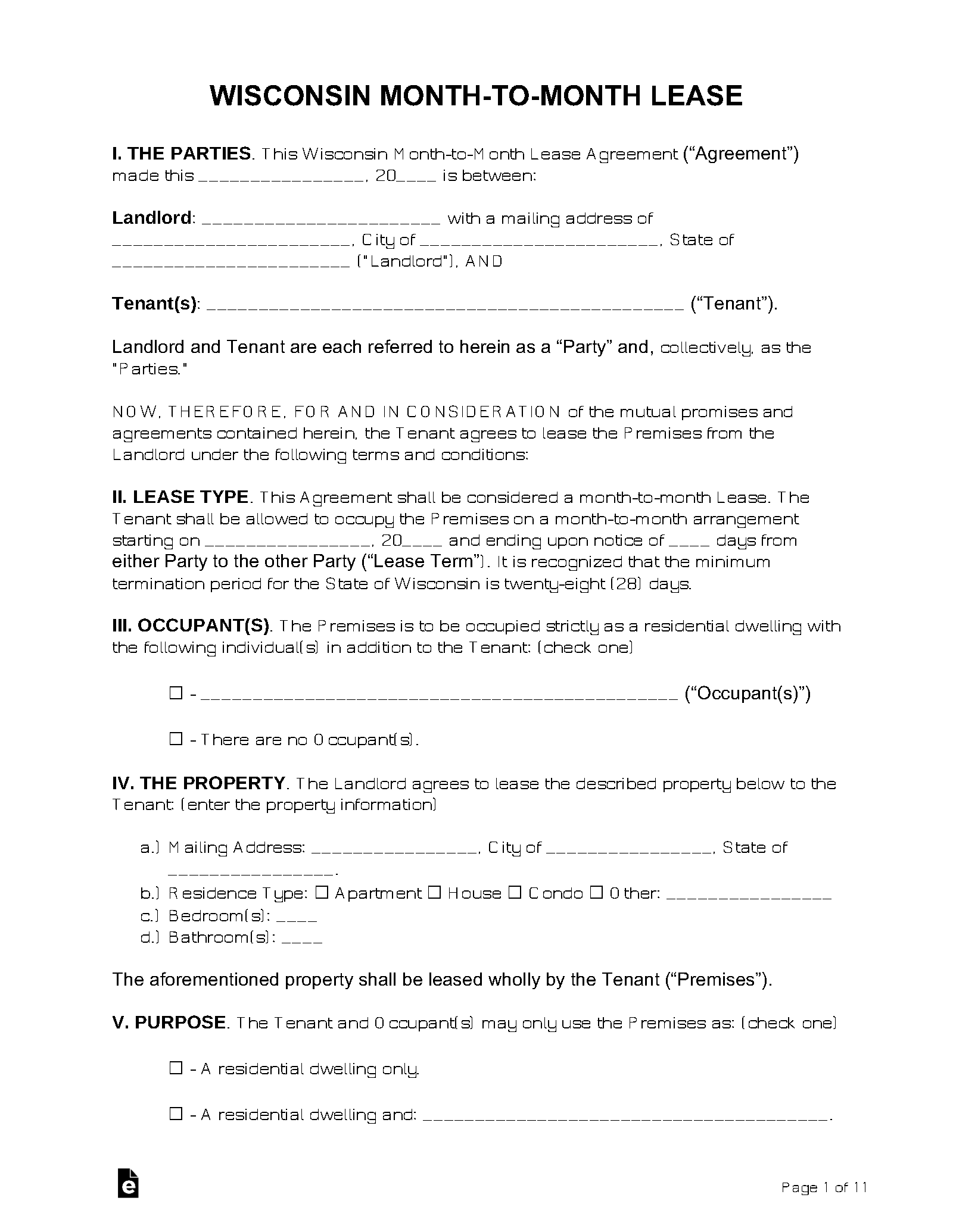Free Wisconsin Month To Month Rental Agreement Form Pdf
