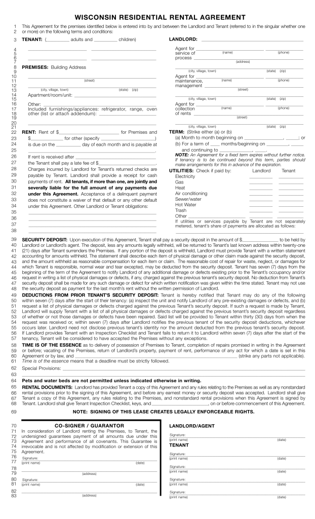 Free Wisconsin Standard Residential Lease Agreement Template PDF – Sample Apartment Lease Agreement Template
