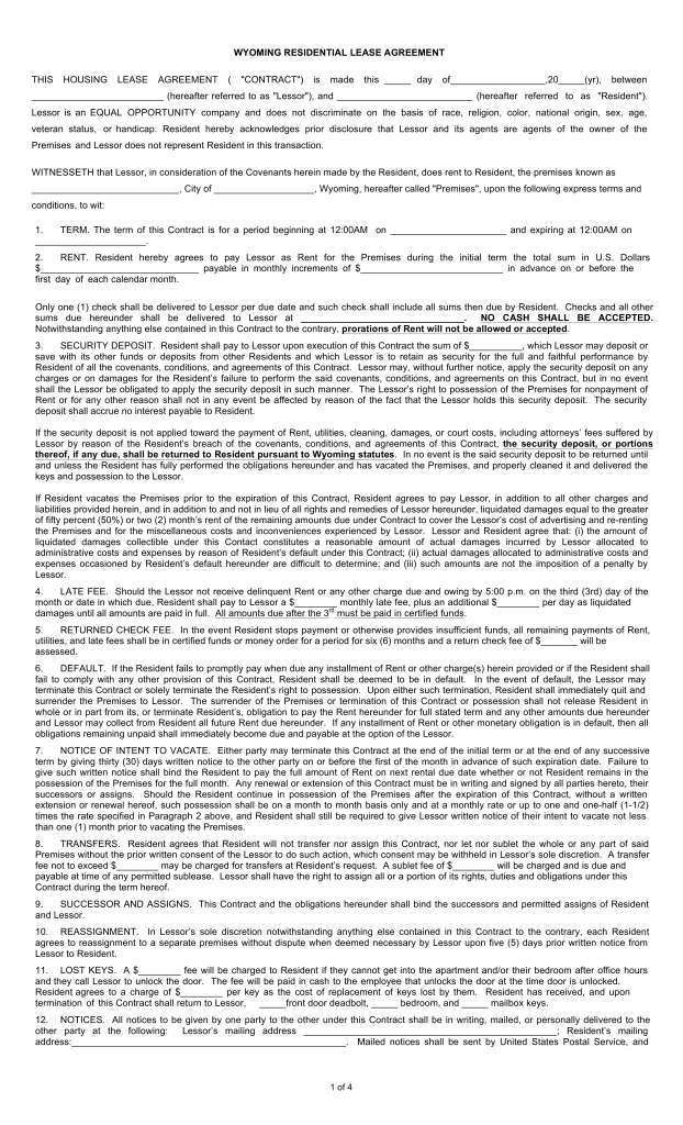 Free Wyoming Standard Residential Lease Agreement Form Pdf