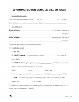 Free Wyoming Bill of Sale Forms - PDF | eForms – Free ...