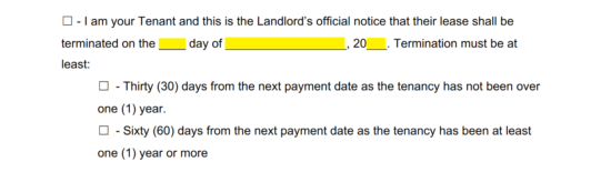 The Type Of Lease Will Also Need To Be Indicated By Checking Box Preceding Word Thirty Or Sixty