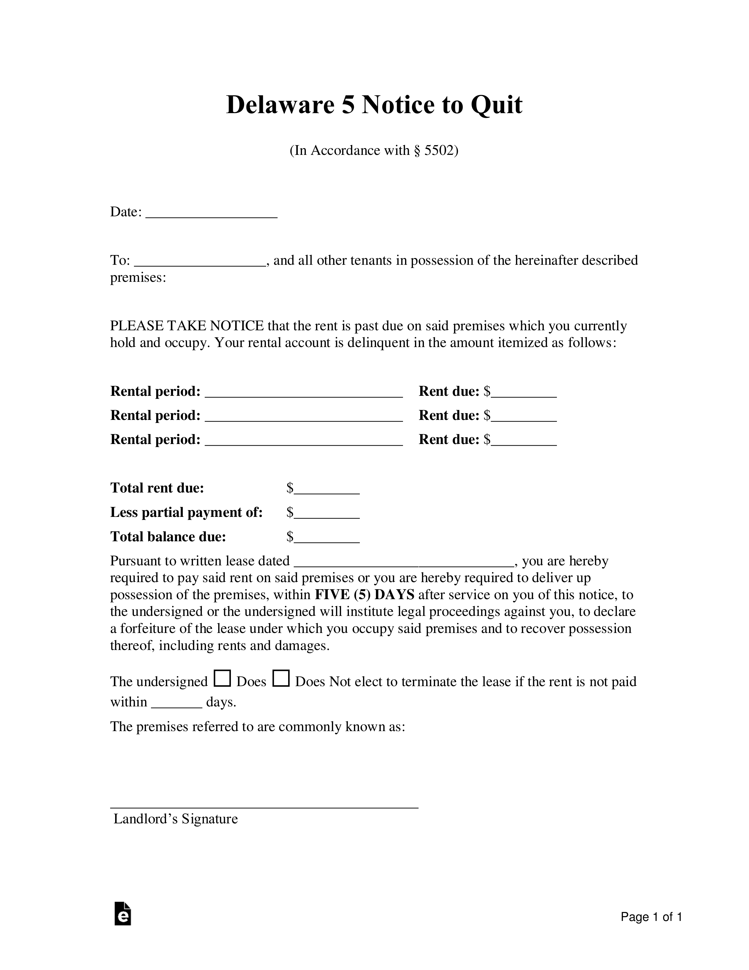 Delaware 30 Day Notice to Quit Form   Non Payment of Rent – eForms