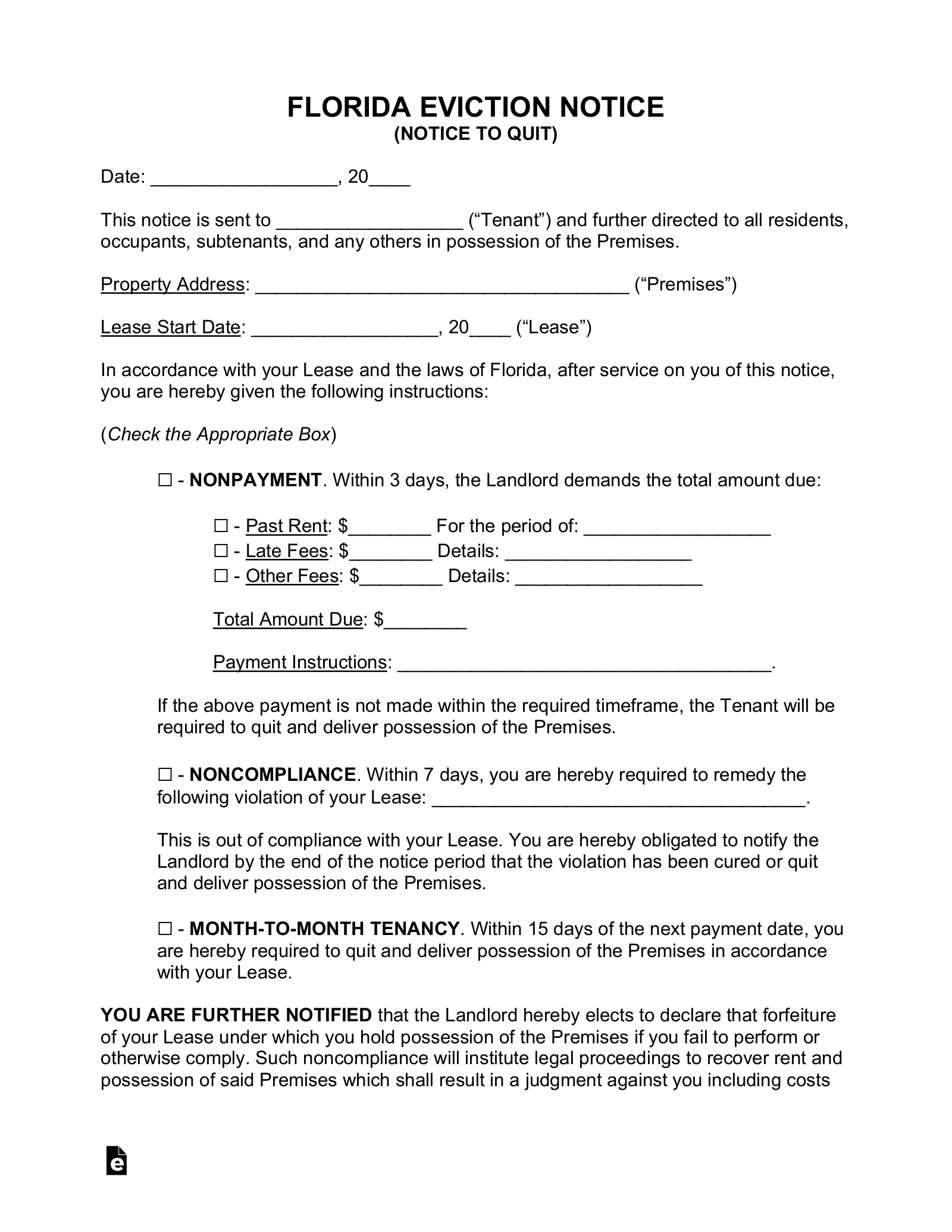 Free Florida Eviction Notice Forms Process And Laws Pdf
