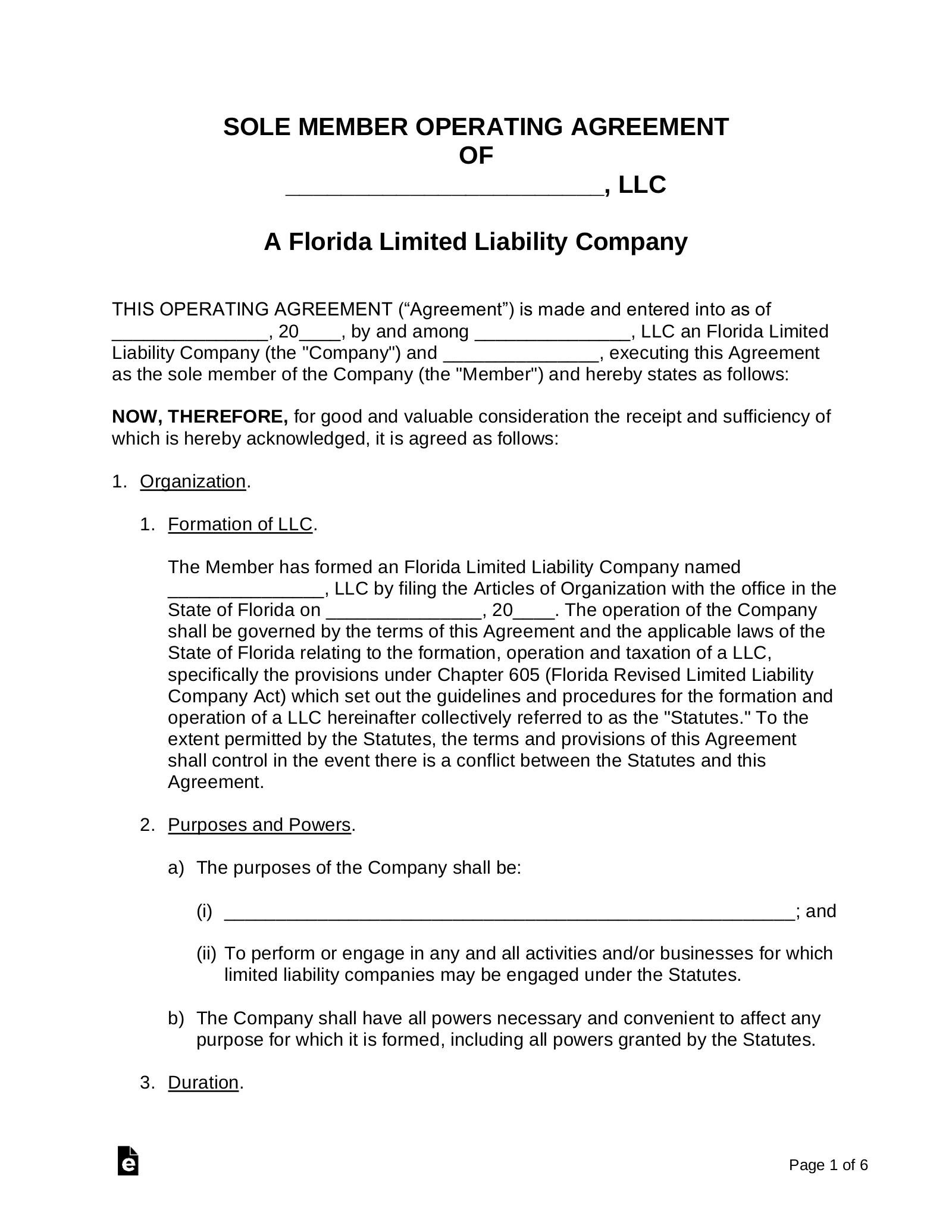 Florida Single Member Llc Operating Agreement Form Eforms