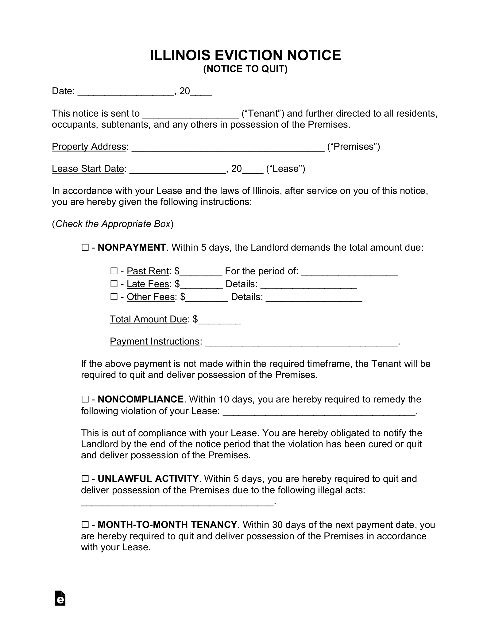 Free Illinois Eviction Notice Forms | Process and Laws - PDF