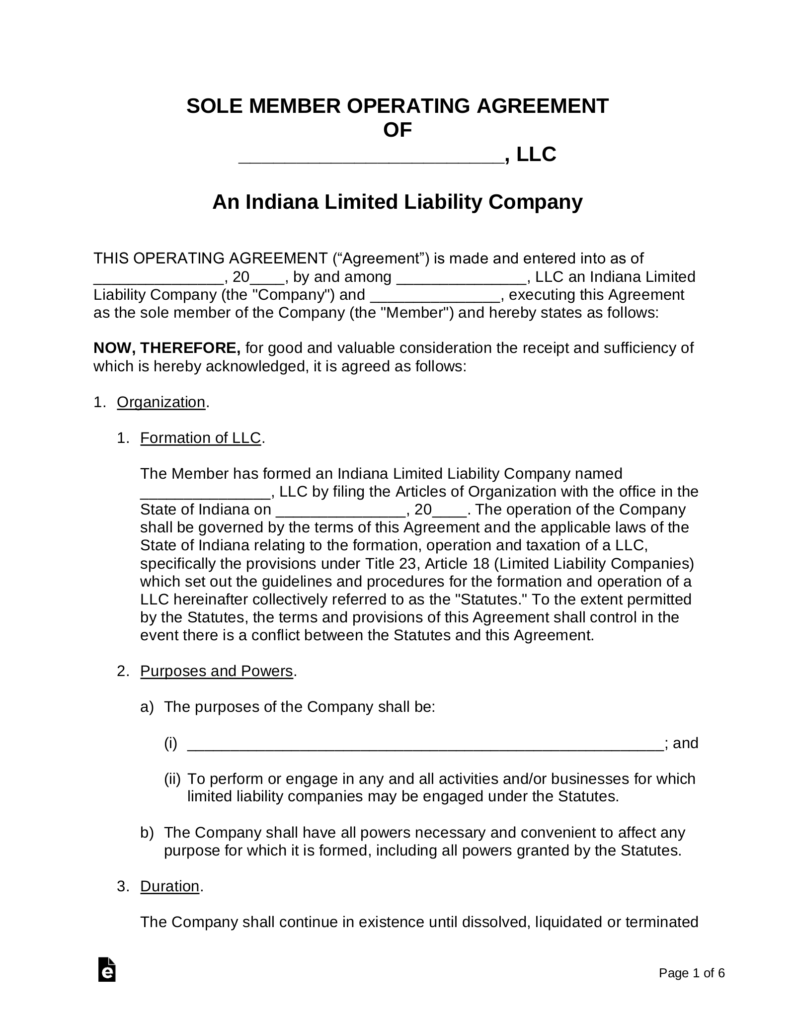 Indiana Single-Member LLC Operating Agreement Form - eForms