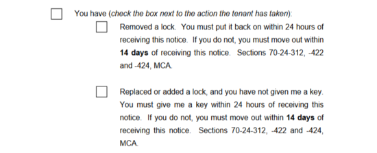 Free montana eviction notice forms process and laws pdf if the tenant has abandoned the property and must be informed that his or her lease has been terminated then select the check box for the statement you thecheapjerseys Gallery