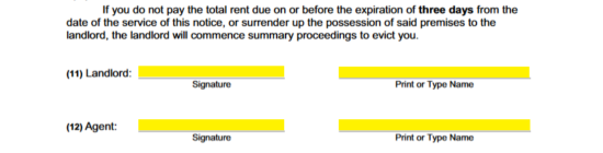 new york 3 day notice to quit form demand for rent non payment