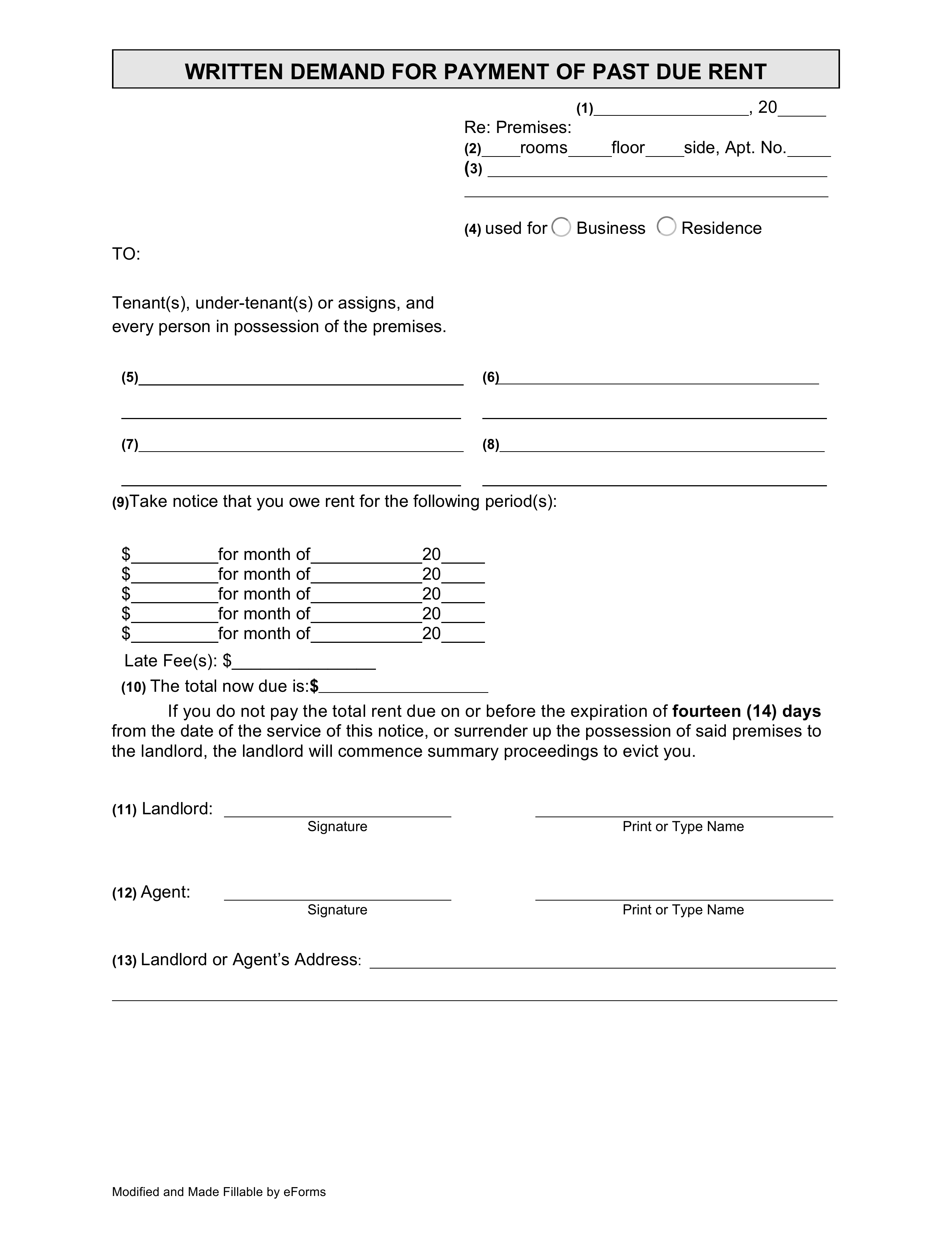 Sample Letter For Nonpayment Of Rent from eforms.com