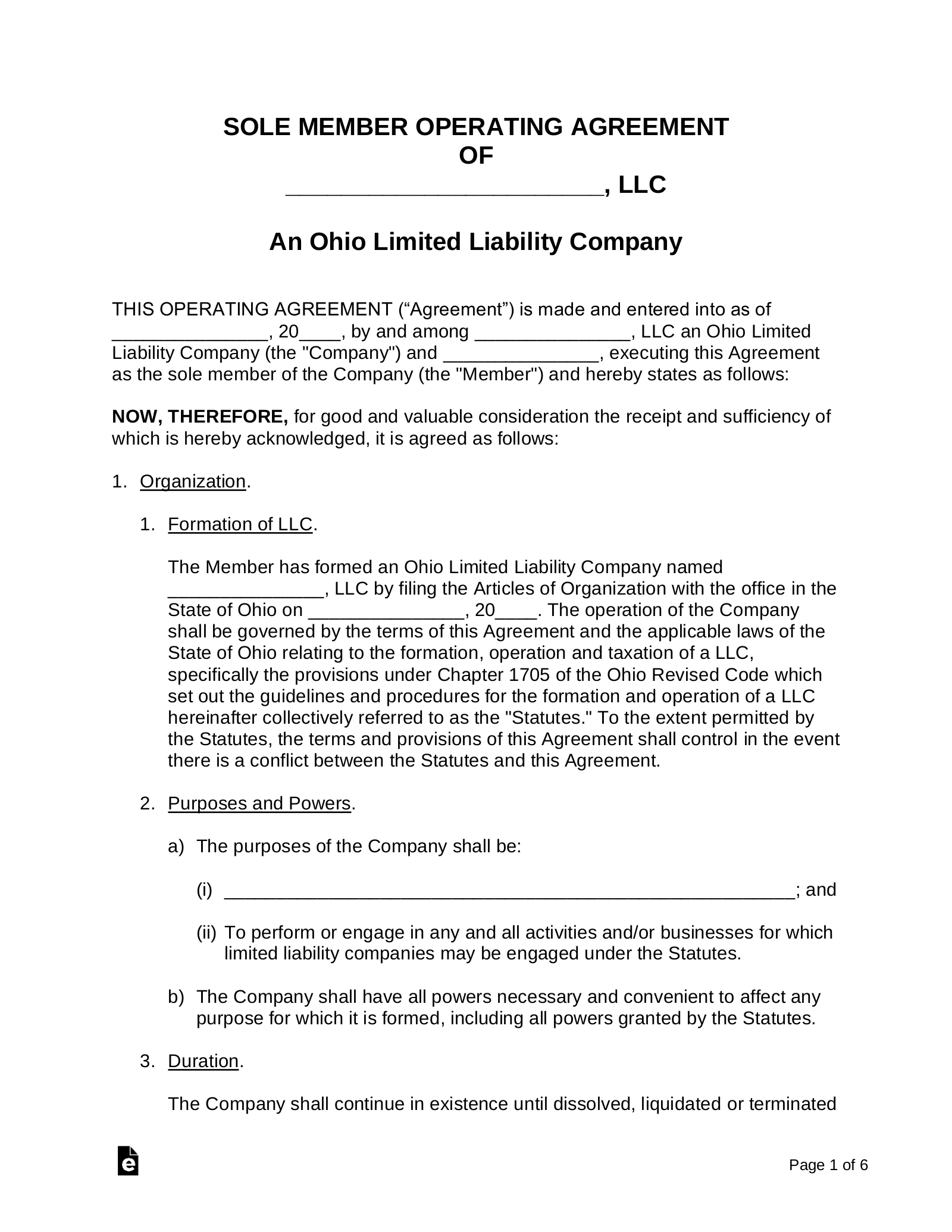 Free Ohio Single Member LLC Operating Agreement Form - PDF ...