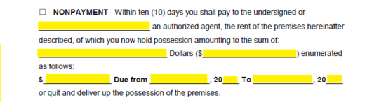 if issuing this notice supply the authorized agents name the amount of money the recipient owes the minimum dollar amount that must be paid