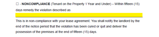 the noncompliance tenant on the property over 1 year statement will assume the subject matter to be the recipients noncompliance or disobedience of the