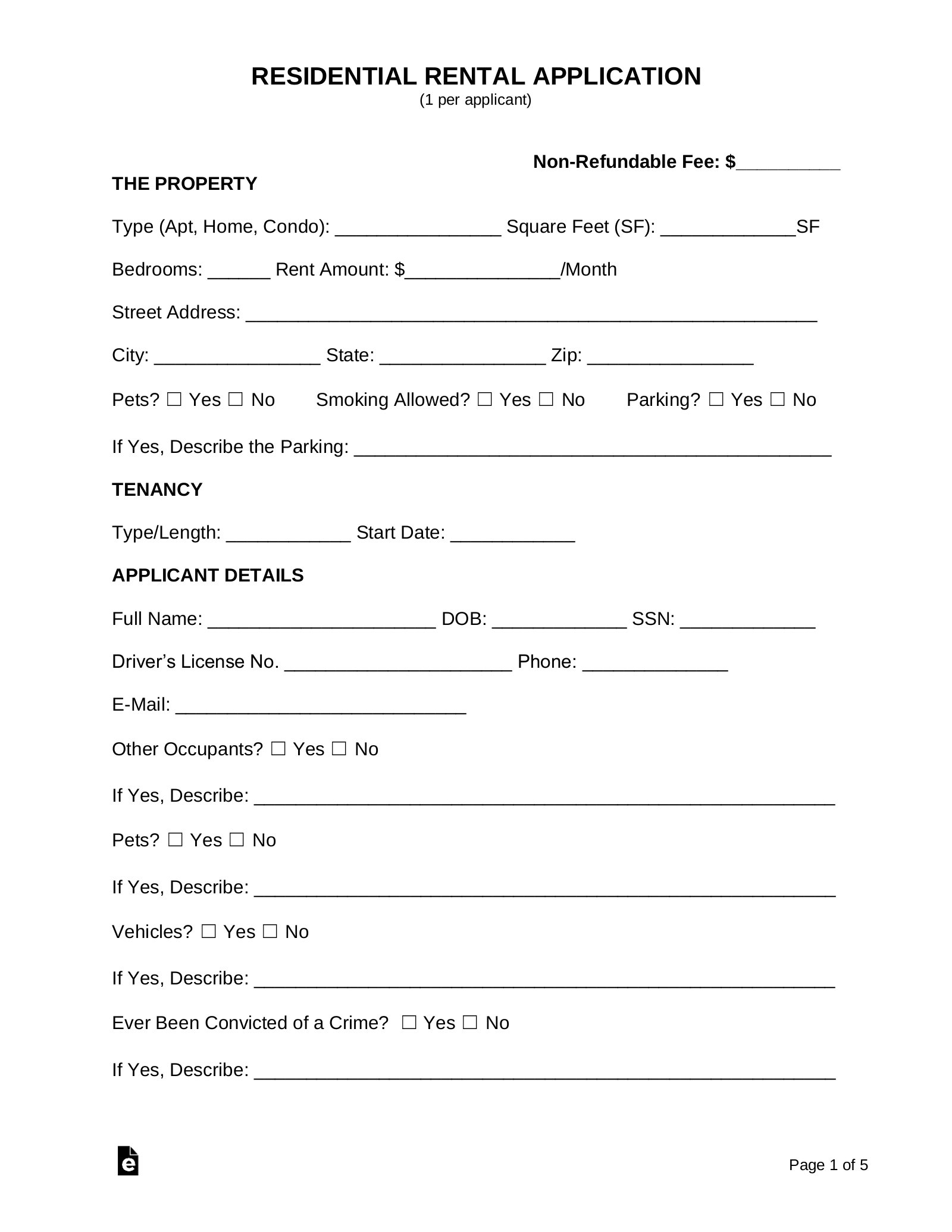 It's just a picture of Rental Application Printable for rental agreement