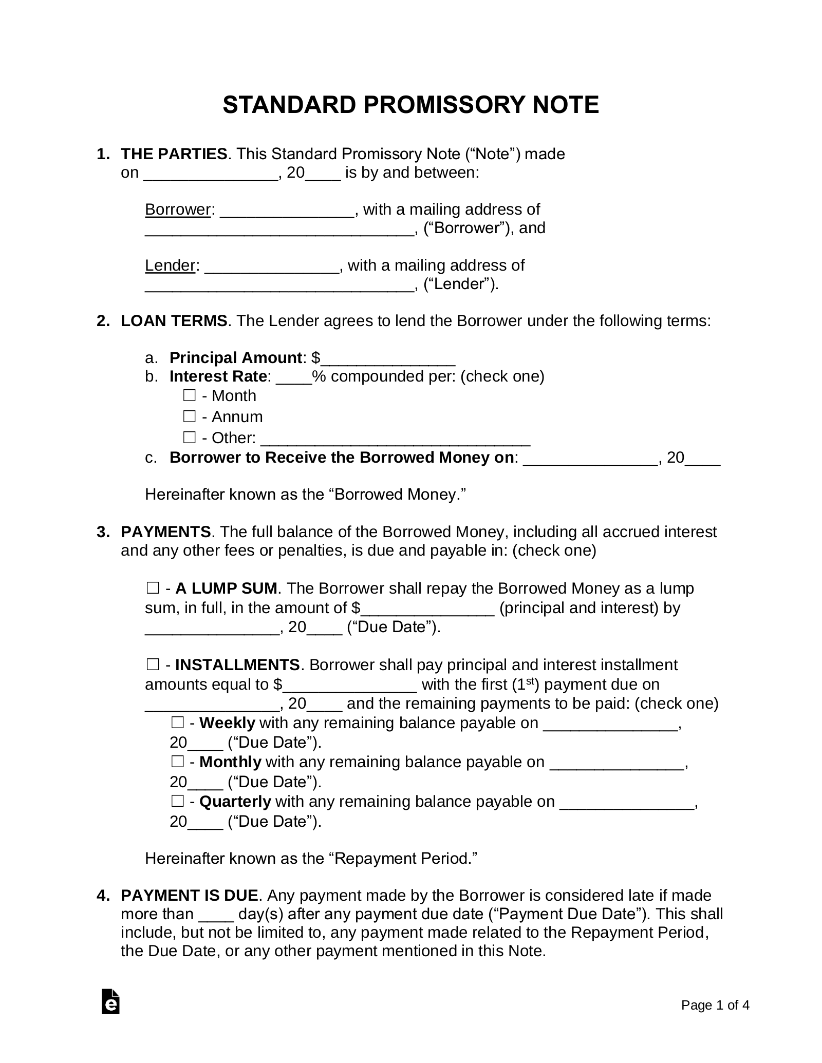 Free Promissory Note Templates Word Pdf Eforms Free
